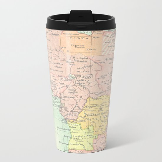 Vintage Africa Map Metal Travel Mug