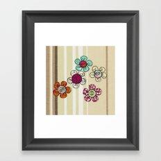 Embroidered Flower Illustration Framed Art Print