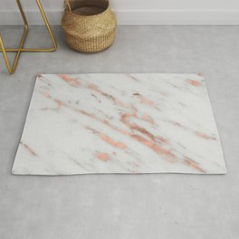 Marble - Rose Gold Marble with White Gold Foil Pattern Rug