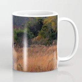 Robin Perched on Bird Feeder Stand Coffee Mug