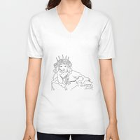 mucha V-neck T-shirts featuring Mucha Style by Crousticro