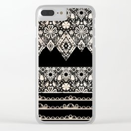Seamless lace lacy washi tapes ribbon pattern on black background texture Clear iPhone Case