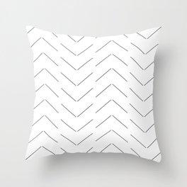 LINEd_HerringboneFew_BW Throw Pillow