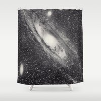 astronomy Shower Curtains featuring Vintage Astronomy-Nebula M31 Andromeda by lacelace