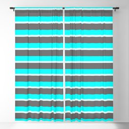 Dim Grey, Cyan, and Light Cyan Colored Lined/Striped Pattern Blackout Curtain