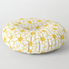 Polka Dot Daisies - Cheerful Retro Geometric Floral Pattern in Mustard and White Floor Pillow