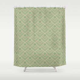Paris - Classic Green Beige Geometric Minimalism Shower Curtain