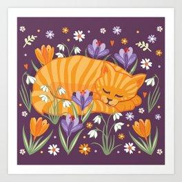 Sleepy Cat in a Spring Garden Art Print