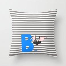 b for bat Throw Pillow