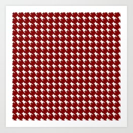 Dark Christmas Candy Apple Red Houndstooth Check Art Print