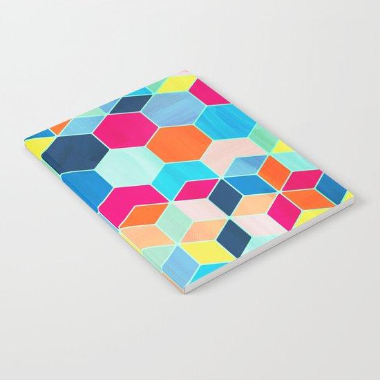 Super Bright Color Fun Hexagon Pattern Notebook