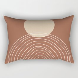 Hand drawn Geometric Lines in Terracotta and Beige Rectangular Pillow