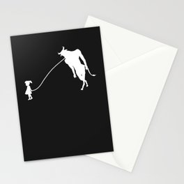 Minotaur Pet Walked By Girl Stationery Cards