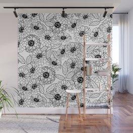Black and White Zinnias Wall Mural
