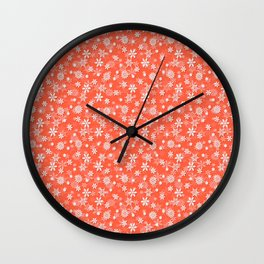 Festive Living Coral Orange Pink and White Christmas Holiday Snowflakes Wall Clock