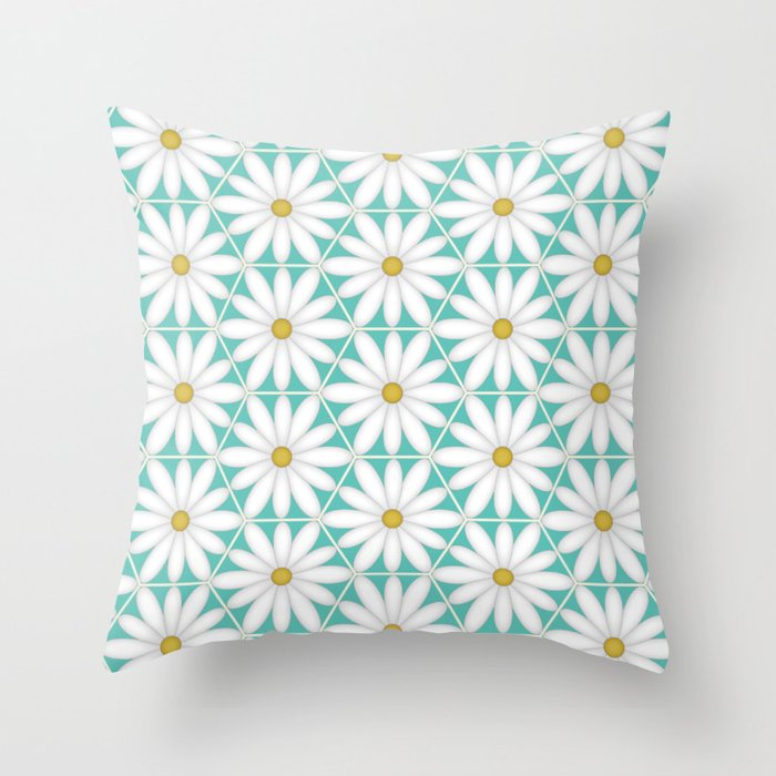 Daisy Hex - Turquoise Throw Pillow