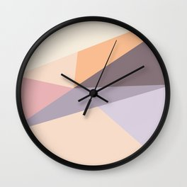 Modern  geometric abstract pastel lilac pink  color block Wall Clock