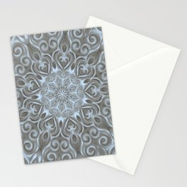 Light Blue Center Swirl Mandala Stationery Cards