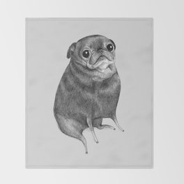 Sweet Black Pug Throw Blanket