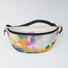 Misty morning -abstract pink, teal and orange Fanny Pack