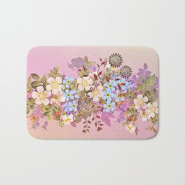 Sweet pastel pink flowers Bath Mat