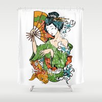 geisha Shower Curtains featuring Geisha by iRoN Design