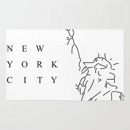 White Minimal New York City Poster Rug