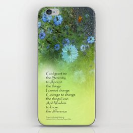 Serenity Prayer Bachelor's Buttons iPhone Skin