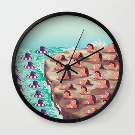babys sunbathe on rock Wall Clock