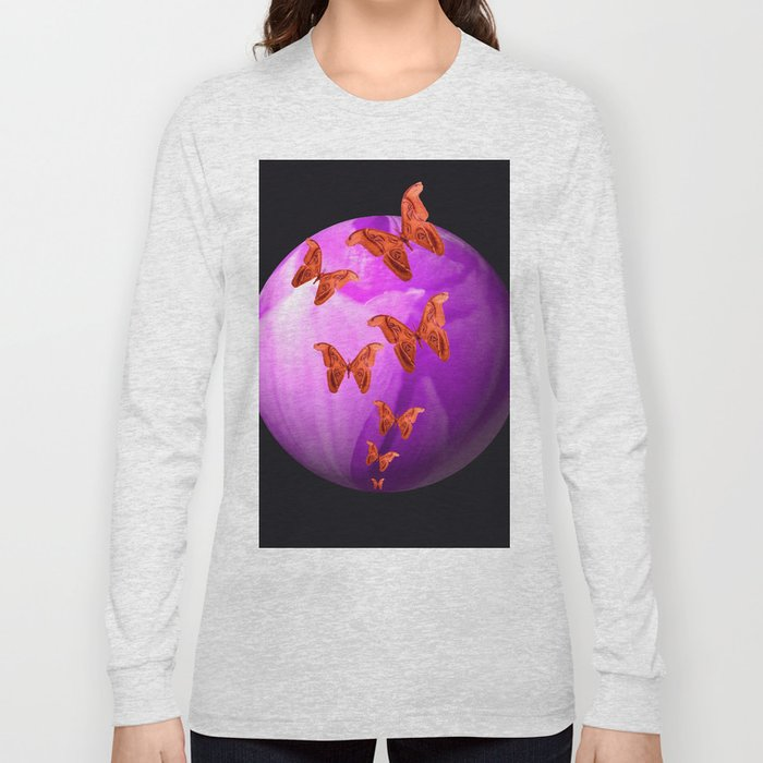 Violet Flower Bud With Apollo Butterflies Illustration On A Black Background #decor #society6 Long Sleeve T-shirt