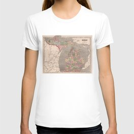 Vintage Map of Michigan (1844) T-shirt
