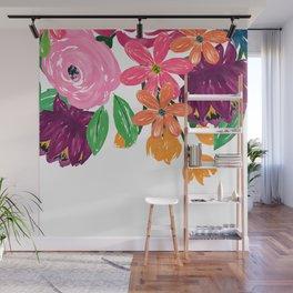 Boho Chic Watercolor Burgundy Pink Flowers Wall Mural