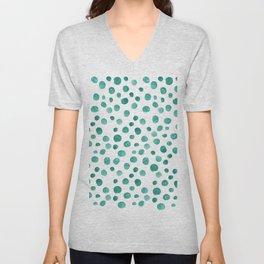 Turquoise Bubbles on White Unisex V-Neck