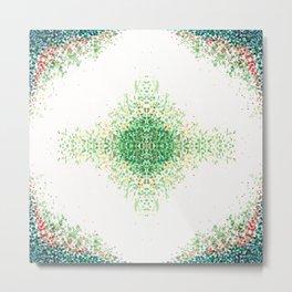Floral Light Green Mosaic Pattern Metal Print
