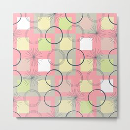 Squares and Circles / Pink / Abstract Geometric Pattern Metal Print