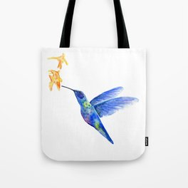 WATERCOLOR HUMMINGBIRD AND FLOWERS Tote Bag
