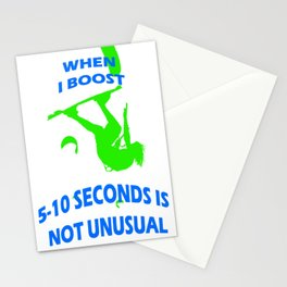 When I Boost 5-10 Seconds Is Not Unusual Neon Lime and Blue Stationery Cards
