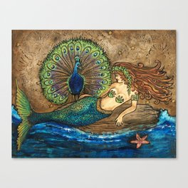 Mermaid and Peacock Canvas Print