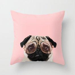 Intellectual Pug Throw Pillow