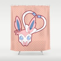 sylveon Shower Curtains featuring Attract by Burashi