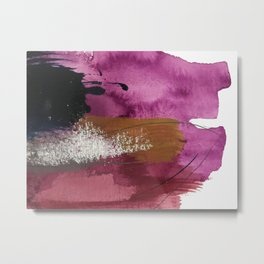 Comfort: a pretty abstract mixed media piece in gray, purple, red, black, and white Metal Print