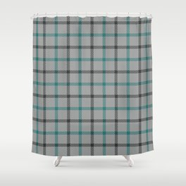 Teal and grey abstract geometric - Tartan plaid Shower Curtain