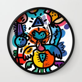 Doodle Graffiti Art Cool and Joyful Creatures by Emmanuel Signorino Wall Clock