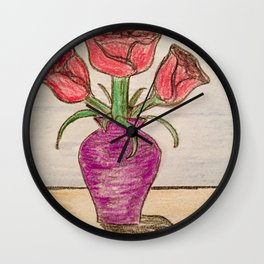 Three roses In a vase Wall Clock