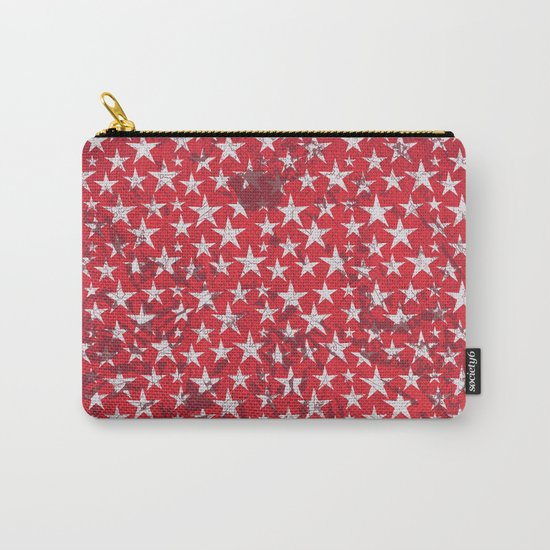 White stars on red grunge textured background  Carry-All Pouch
