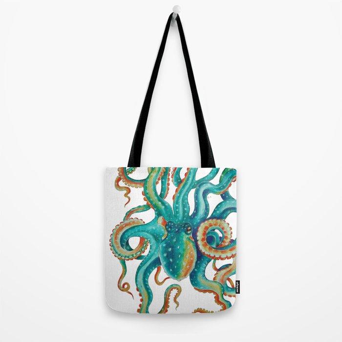 Octopus Tentacles Teal Green Watercolor Art Tote Bag