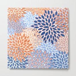 Modern, Floral Prints, Orange and Blue Metal Print