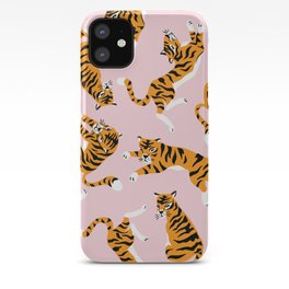 Lovely tiger falling from the pastel sky hand drawn illustration pattern iPhone Case