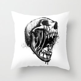 Melting Primal Scream - Skull Throw Pillow