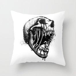 Melting Primal Scream - Skull Throw Pillow